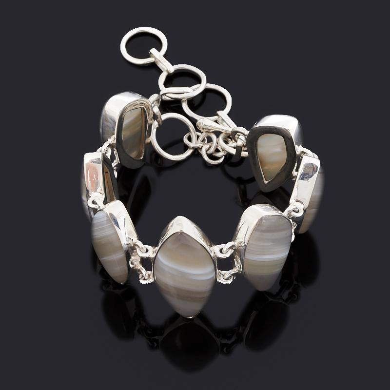 Браслет агат серый (серебро 925 пр.) 15 см (+5 см) браслет агат серый серебро 925 пр 15 см 5 см