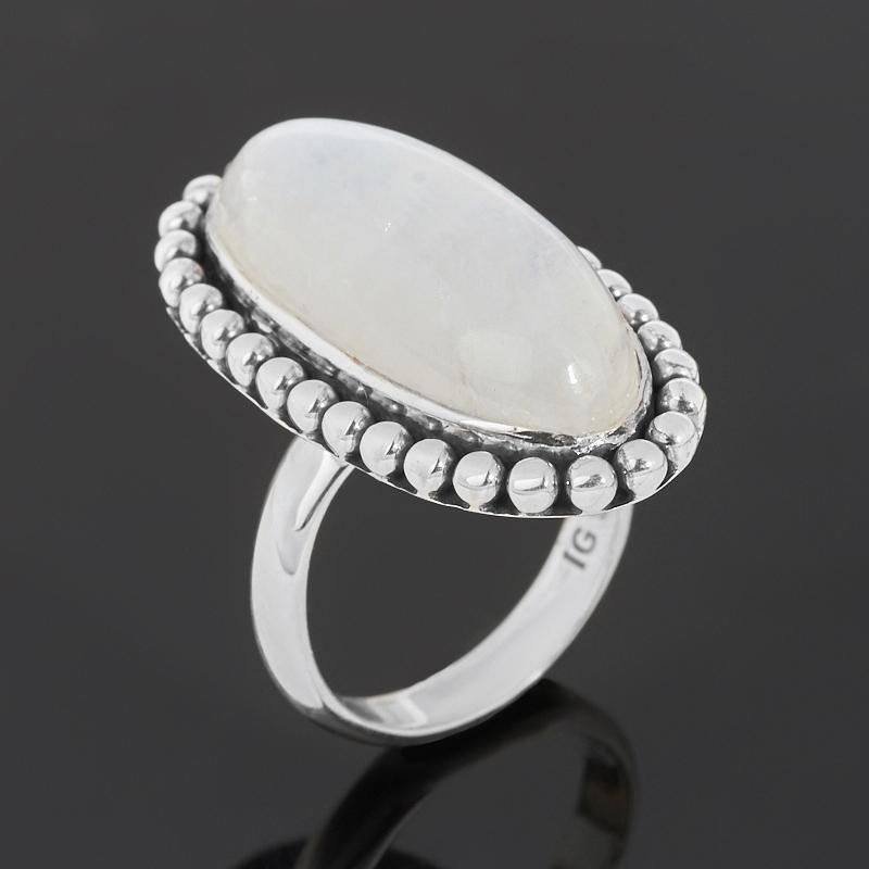 Кольцо лунный камень (адуляр) (серебро 925 пр. оксидир.) размер 17,5