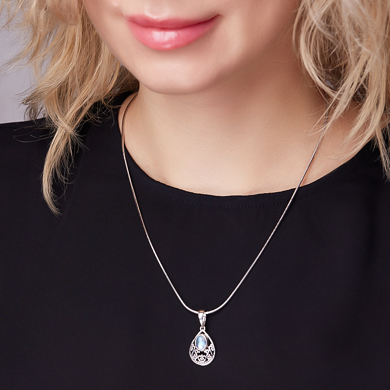Кулон лунный камень (адуляр) Индия (серебро 925 пр. оксидир.) капля