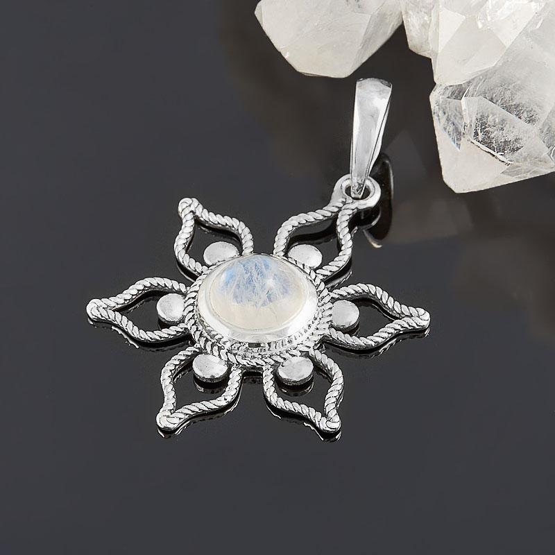 Кулон лунный камень (адуляр) (серебро 925 пр. родир. бел.) цветок