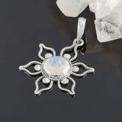 Кулон лунный камень (адуляр) Индия (серебро 925 пр. родир. бел.) цветок