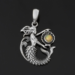 Кулон опал благородный желтый Эфиопия (серебро 925 пр. оксидир.)