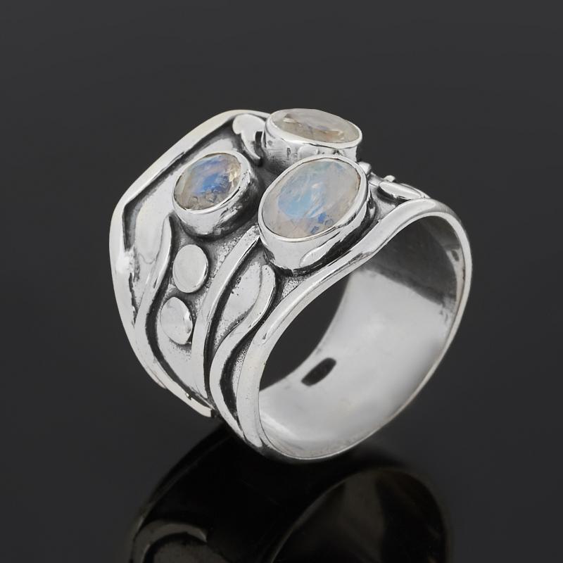 Кольцо лунный камень (адуляр) (серебро 925 пр. оксидир.) огранка размер 18