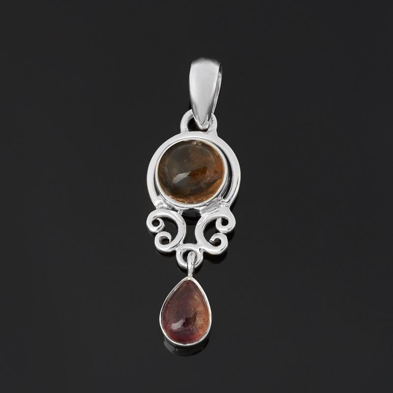 Кулон турмалин коричневый (дравит), полихромный (серебро 925 пр.) кристалл турмалин полихромный xl 40х40х180 мм