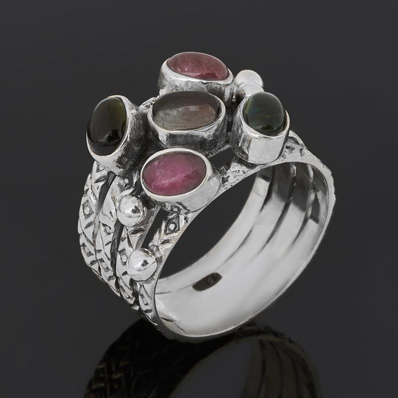 Кольцо турмалин зеленый (верделит), полихромный, розовый (рубеллит) (серебро 925 пр. оксидир.) размер 18,5 кристалл турмалин полихромный xl 40х40х180 мм