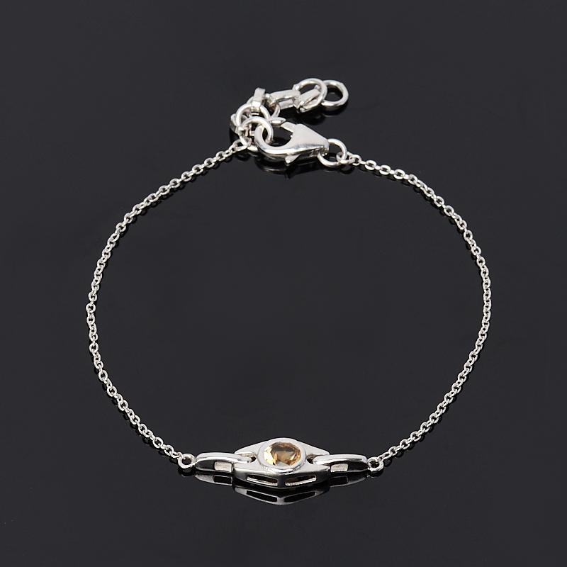 Браслет цитрин (серебро 925 пр.) огранка 5 мм 17 см (+3 см) браслет агат серый серебро 925 пр 15 см 5 см