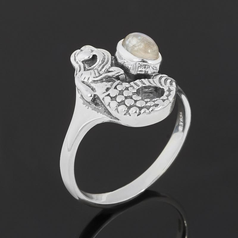 Кольцо лунный камень (адуляр) (серебро 925 пр. оксидир.) размер 18 фото