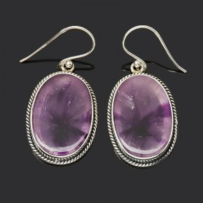 Серьги флюорит фиолетовый (серебро 925 пр.)