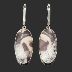 Серьги яшма мраморная ЮАР (серебро 925 пр.)