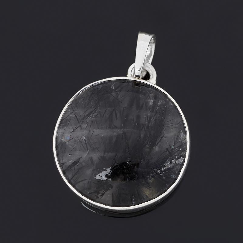 Кулон кварц с турмалином (серебро 925 пр.) круг