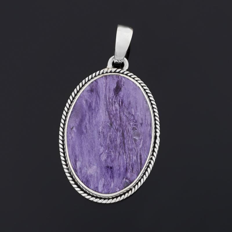 Кулон чароит (серебро 925 пр. оксидир.) овал кольцо чароит серебро 925 пр оксидир размер 18