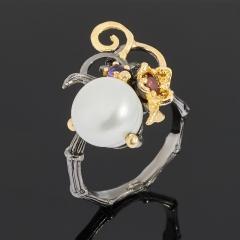 Кольцо жемчуг белый Гонконг (серебро 925 пр. позолота, родир. черн.) размер 18