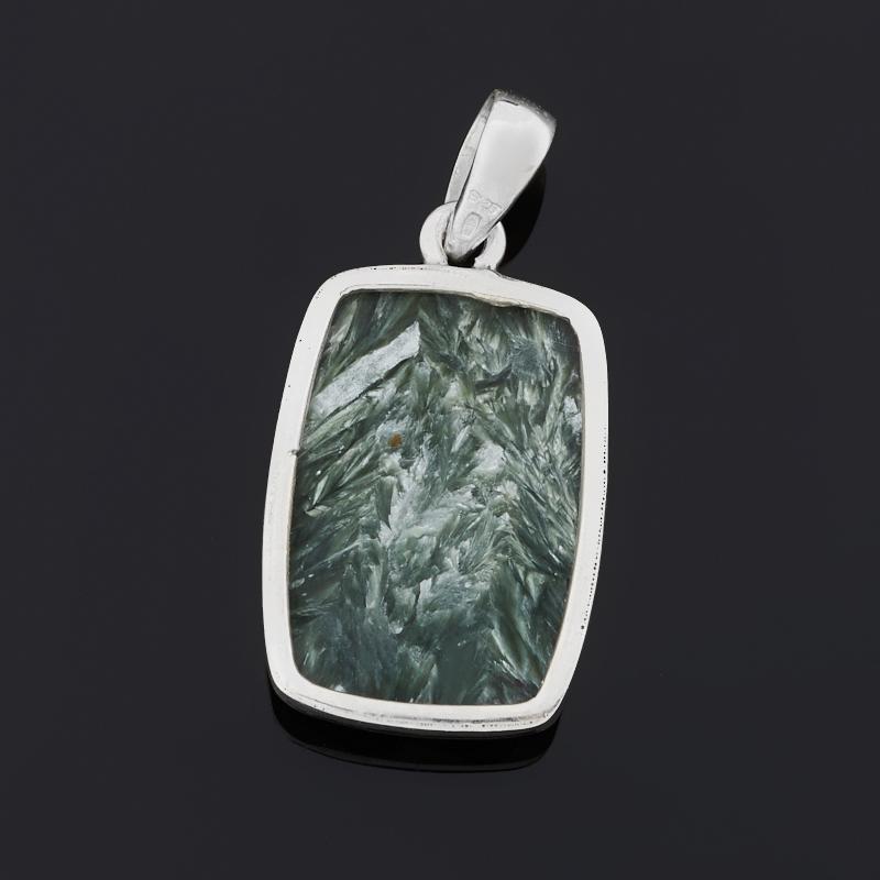 Кулон клинохлор (серафинит) Россия (серебро 925 пр.) прямоугольник