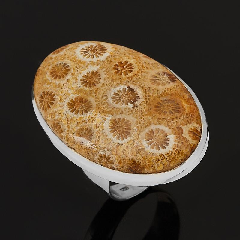 Кольцо коралл (серебро 925 пр.) размер 18