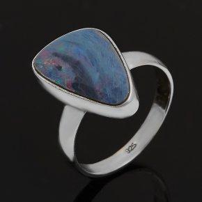 Кольцо опал благородный голубой (дублет) Эфиопия (серебро 925 пр.) размер 18