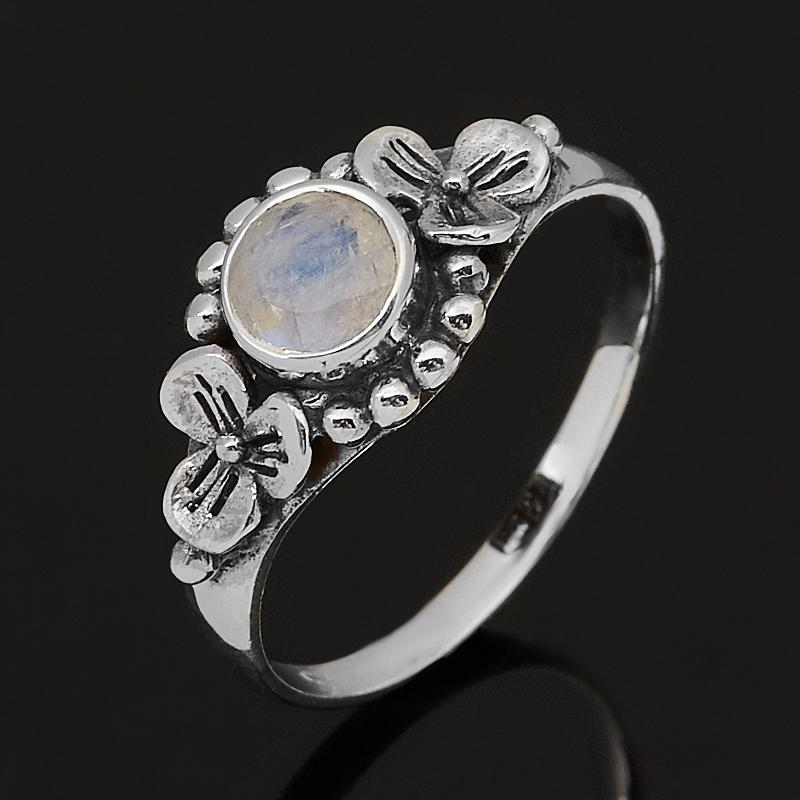 Кольцо лунный камень (адуляр) (серебро 925 пр. оксидир.) огранка размер 17