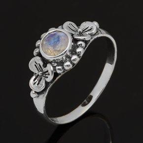 Кольцо лунный камень (адуляр) Индия (серебро 925 пр. оксидир.) огранка размер 17