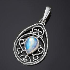 Кулон лунный камень (адуляр) Индия (серебро 925 пр.) капля