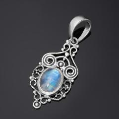 Кулон лунный камень (адуляр) Индия (серебро 925 пр. родир. бел.)