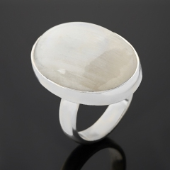 Кольцо лунный камень (адуляр) Индия (серебро 925 пр.) (регулируемый) размер 18
