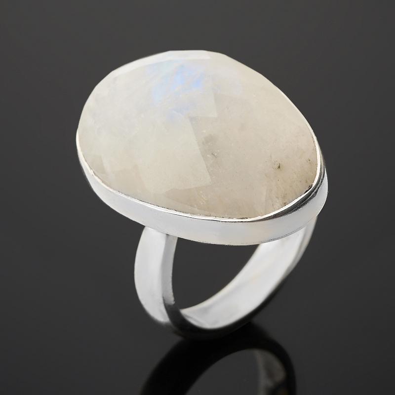 Кольцо лунный камень (адуляр) (серебро 925 пр.) огранка (регулируемый) размер 17,5