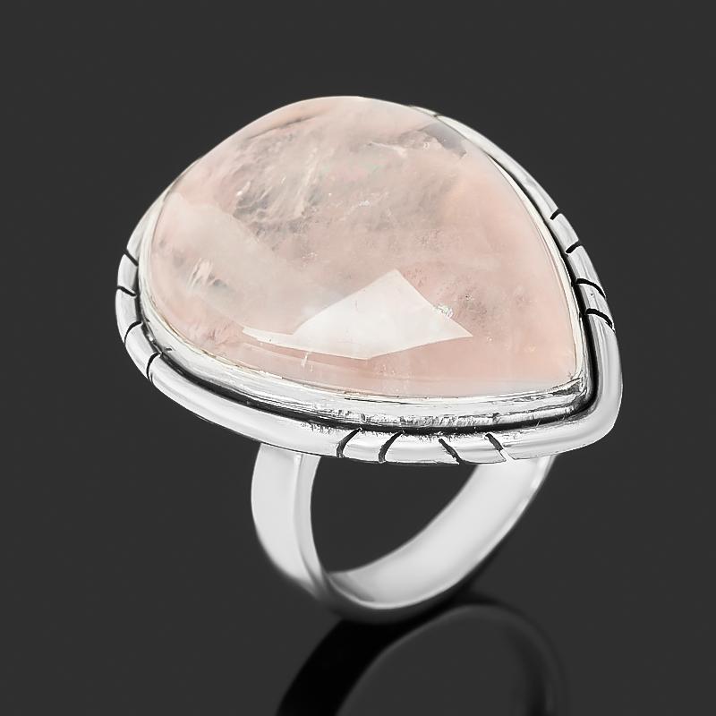 Кольцо розовый кварц (серебро 925 пр.) размер 17