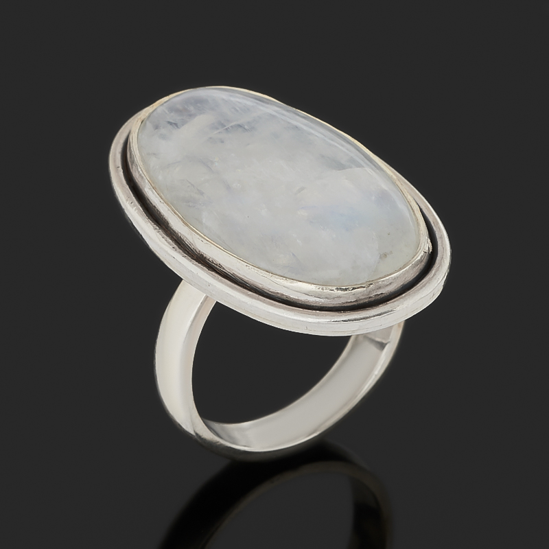 Кольцо лунный камень (адуляр) (серебро 925 пр. оксидир.) (регулируемый) размер 17,5