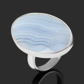 Кольцо агат голубой Намибия (серебро 925 пр.) (регулируемый) размер 18