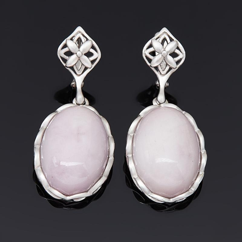 Серьги опал розовый (серебро 925 пр. родир. бел.)