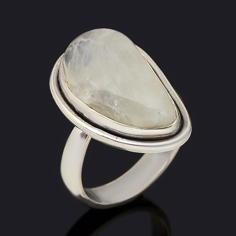 Кольцо лунный камень (адуляр) (серебро 925 пр. оксидир.) (регулируемый) размер 18