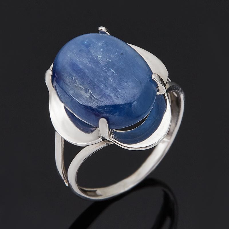 Кольцо кианит синий (серебро 925 пр. родир. бел.) размер 18 фото