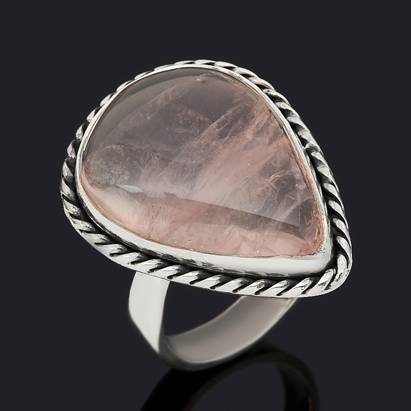 Кольцо розовый кварц (серебро 925 пр. оксидир.) размер 17