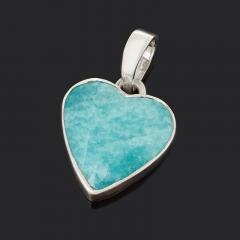 Кулон амазонит Перу (серебро 925 пр.) сердечко