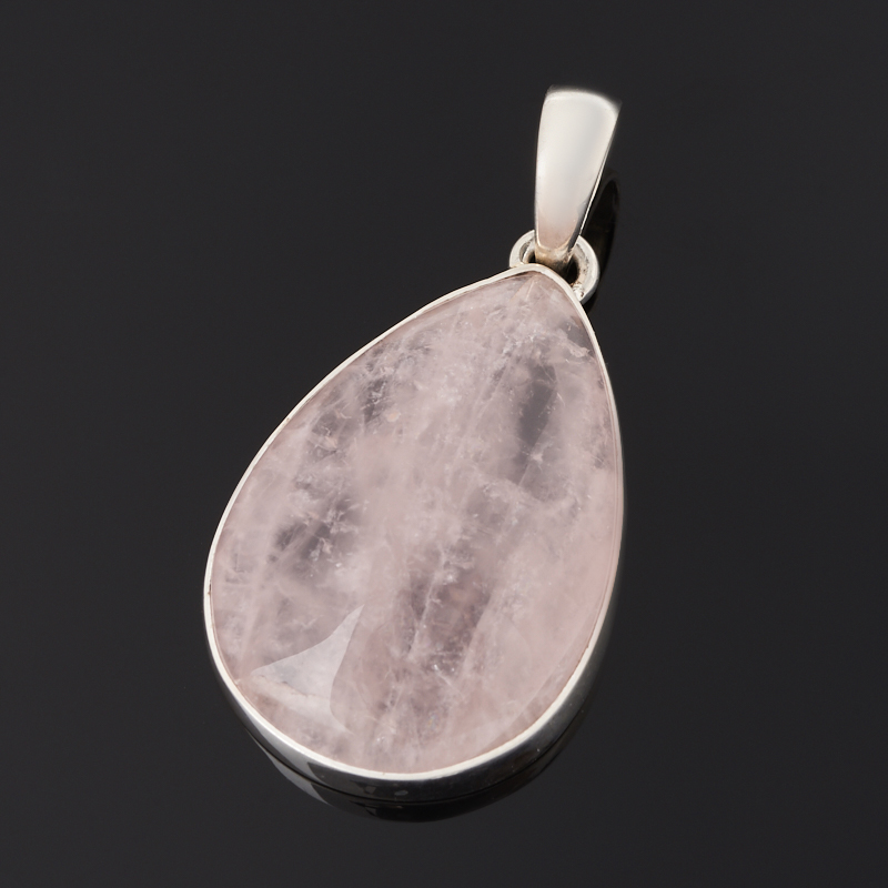 Кулон розовый кварц Бразилия (серебро 925 пр.) капля