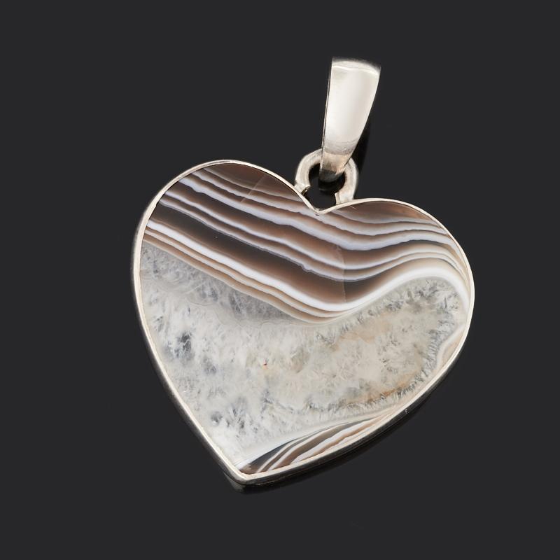 Кулон агат серый (серебро 925 пр.) сердечко браслет агат серый серебро 925 пр 15 см 5 см