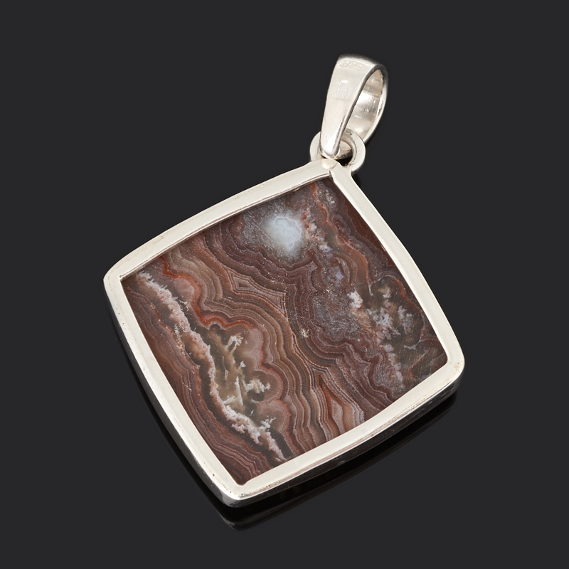 Кулон агат крейзи Бразилия (серебро 925 пр.) ромб