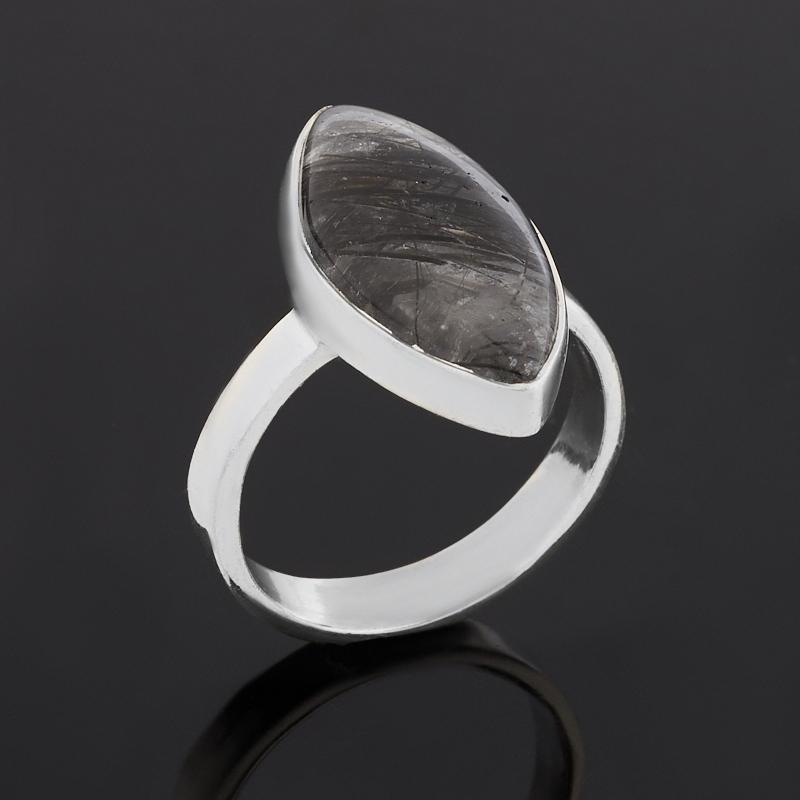 Кольцо кварц с турмалином (серебро 925 пр.) размер 18,5