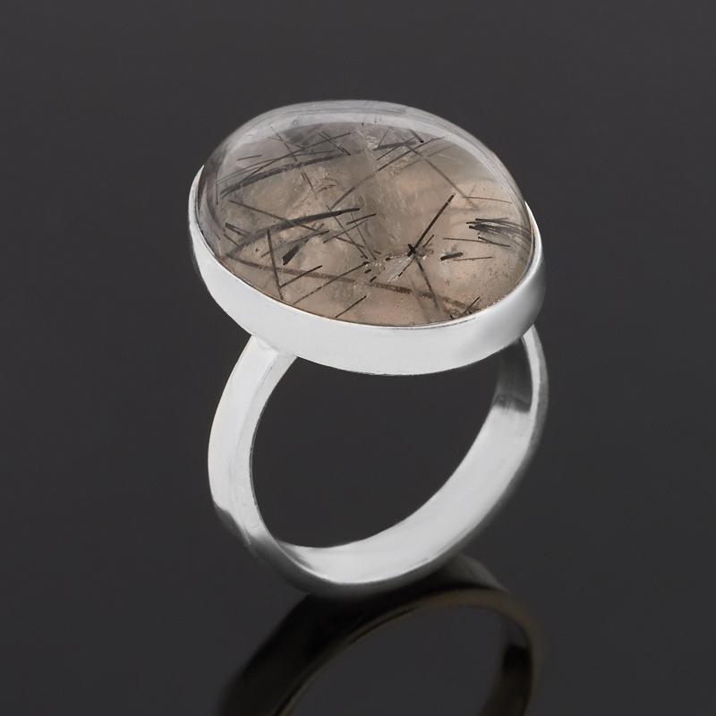 Кольцо кварц с турмалином (серебро 925 пр.) размер 17