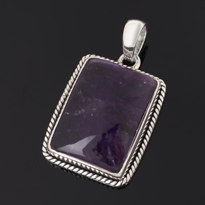 Кулон аметист Бразилия (серебро 925 пр. оксидир.) прямоугольник