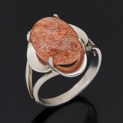 Кольцо солнечный камень Индия (серебро 925 пр. родир. бел.) размер 17