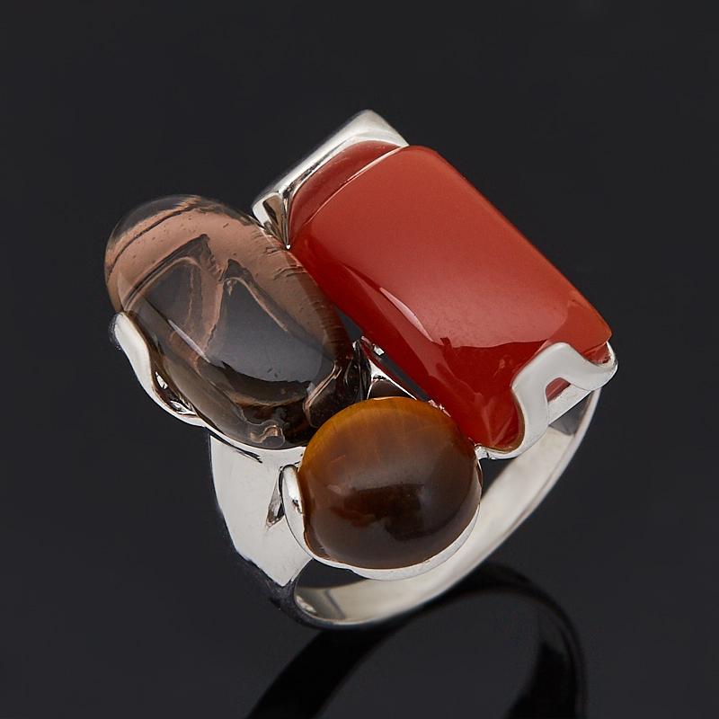 Кольцо микс раухтопаз, сердолик, тигровый глаз (серебро 925 пр. родир. бел.) размер 17,5