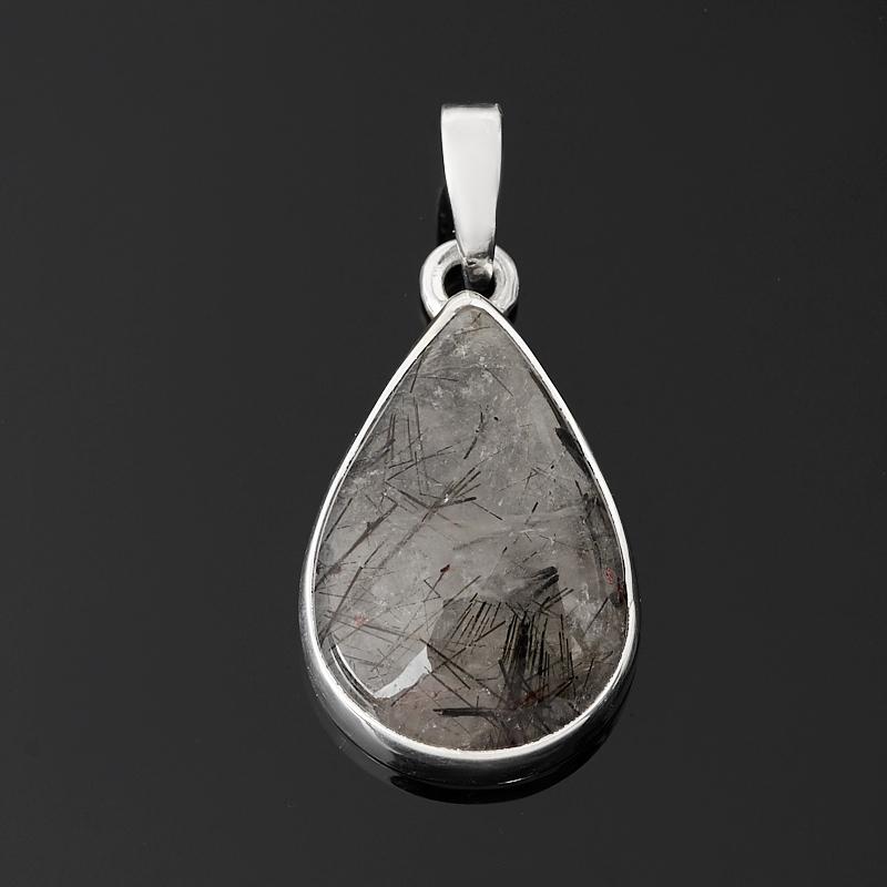 Кулон кварц с турмалином (серебро 925 пр.) капля