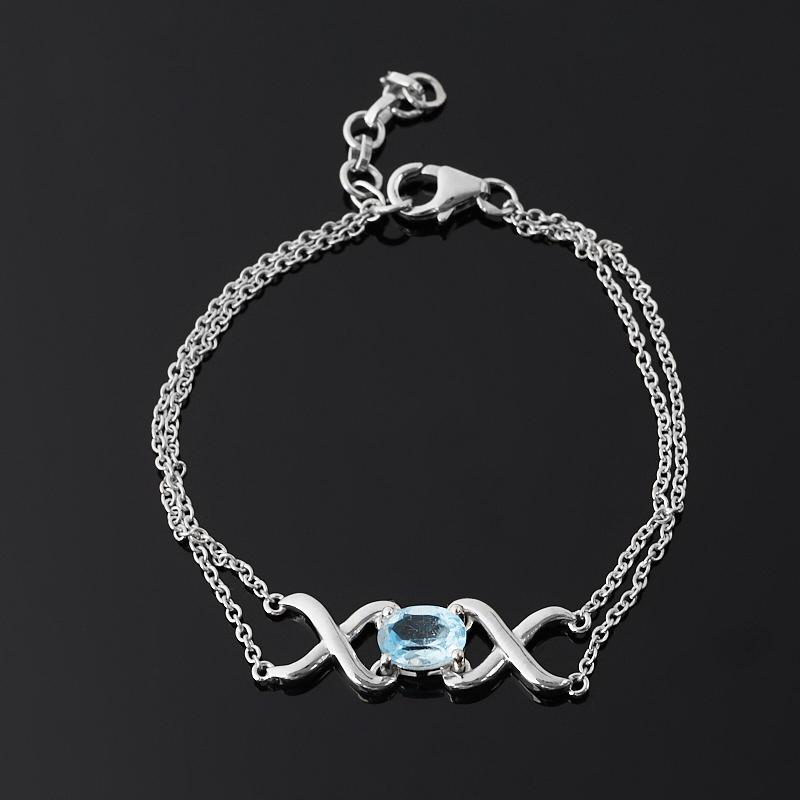 Браслет топаз голубой (серебро 925 пр.) огранка 16 см (+3 см)