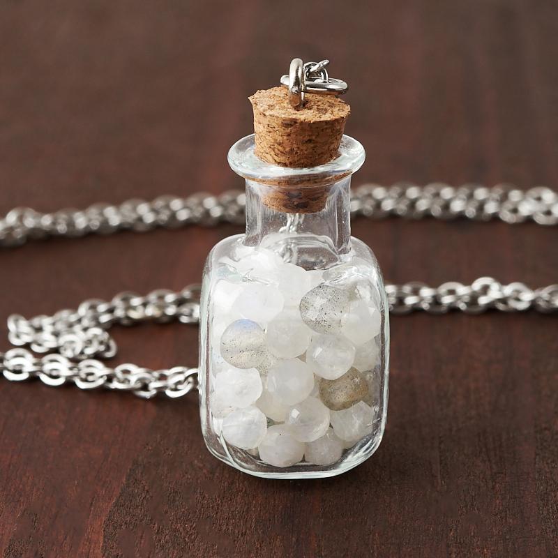 Кулон микс лабрадор, лунный камень (биж. сплав, сталь хир.) бутылочка огранка 3 см фото