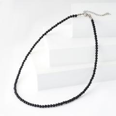 Бусы турмалин черный (шерл) Бразилия (биж. сплав, сталь хир.) 3 мм 43 см (+7 см)