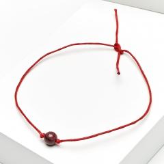 Браслет гранат альмандин Индия (текстиль) красная нить На любовь 5 мм 28 см (регулируемый)