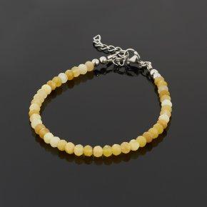 Браслет опал желтый Перу (биж. сплав, сталь хир.) огранка 3 мм 16 см (+3 см)