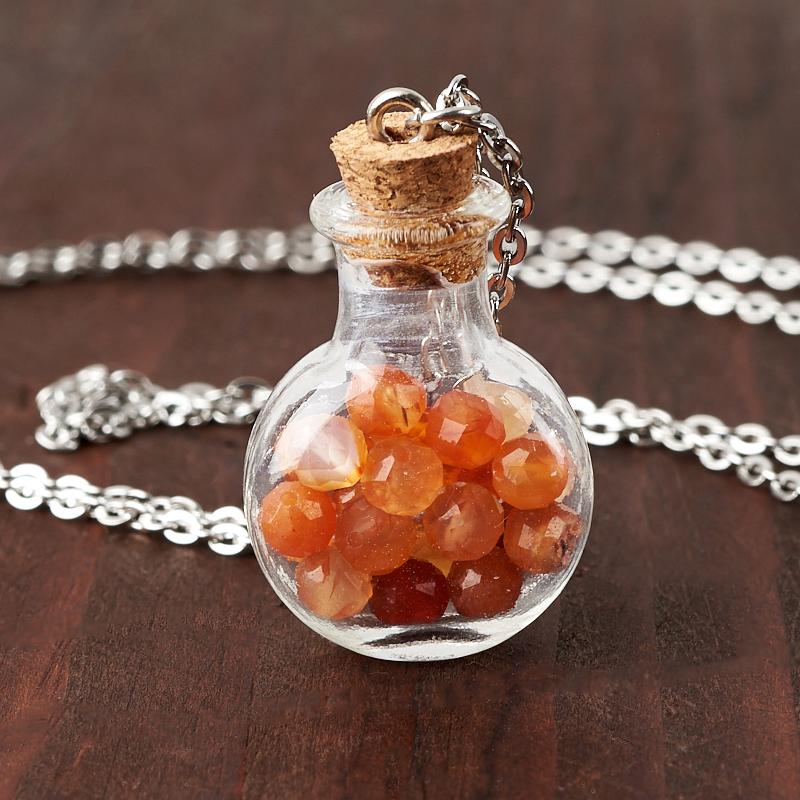 Фото - Кулон сердолик бутылочка огранка (стекло, биж. сплав) 3 см кулон опал благородный белый биж сплав бутылочка огранка 3 см