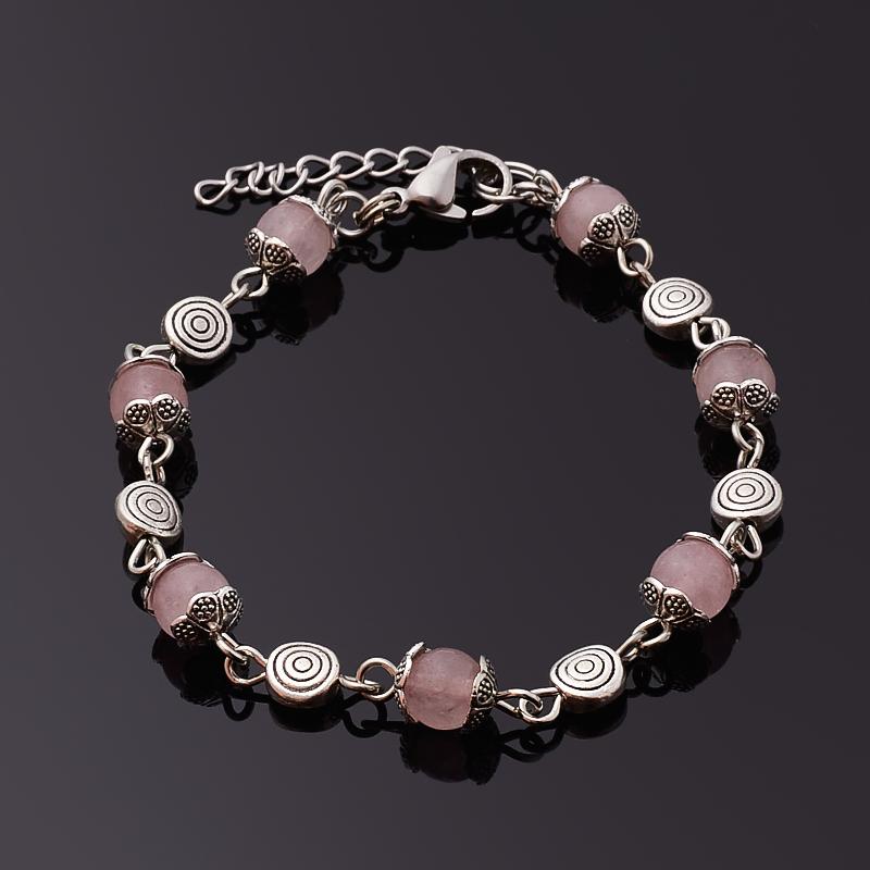 цена Браслет розовый кварц 6 мм 17 см (+3 см) (сталь хир., биж. сплав) онлайн в 2017 году