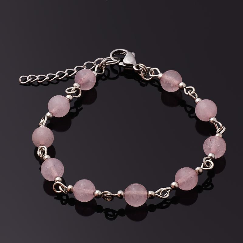 Браслет розовый кварц (биж. сплав, сталь хир.) 6 мм 16 см (+3 см)